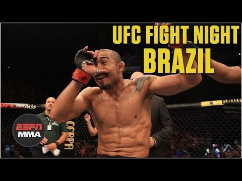 Jose Aldo celebrates in crowd after TKO of Renato Moicano | MMA Highlights