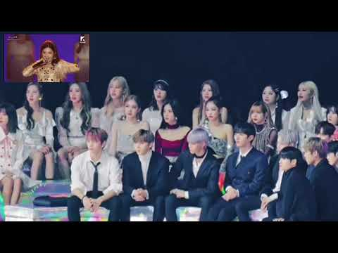 Wanna one,blackpink,momoland reaction g idle at mma2018